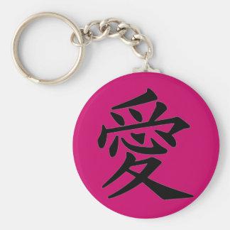 Kanji Character for Love Monogram Basic Round Button Key Ring