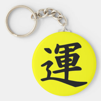 Kanji Character for Luck Monogram Basic Round Button Key Ring