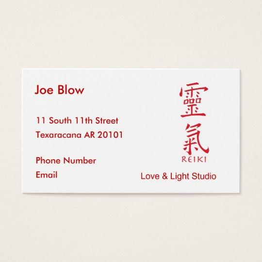 Kanji Character for REIKI Business Card