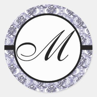 Kanji fo Love Monogram Wedding Blue Damask Round Sticker