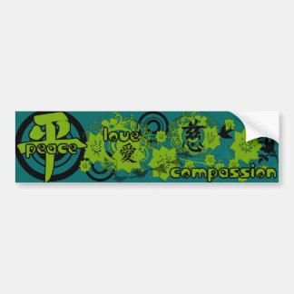 Kanji for Peace-Love-Compassion Bumper Sticker
