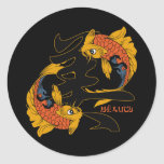 Kanji Koi Fish Beauty Round Sticker