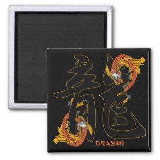 Kanji Koi Fish Dragon Square Magnet