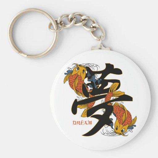 Kanji Koi Fish Dream Key Chains
