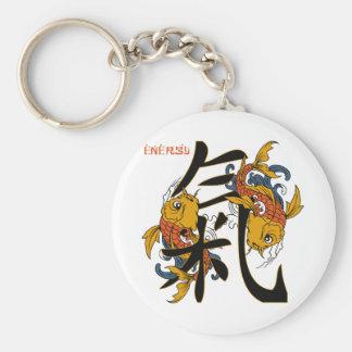 Kanji Koi Fish Energy Basic Round Button Key Ring