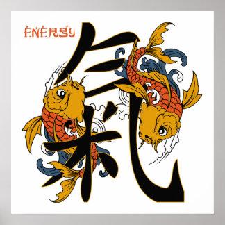 Kanji Koi Fish Energy Poster