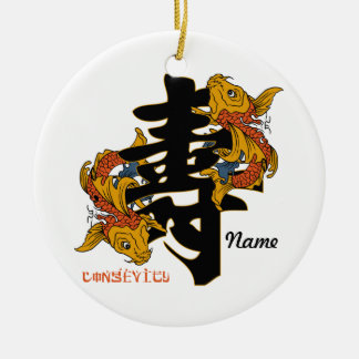 Kanji Koi Fish Longevity Round Ceramic Decoration
