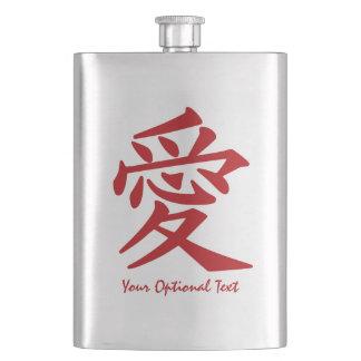 Kanji Love custom flask