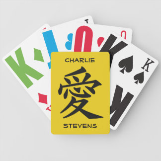 Kanji Love custom text & color playing cards