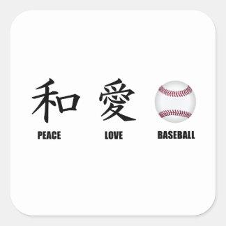 Kanji Peace Love Baseball Square Sticker