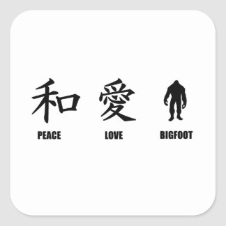 Kanji Peace Love Bigfoot Square Sticker