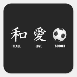 Kanji Peace Love Soccer Square Sticker