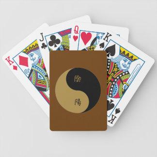 Kanji Yin Yang brown n black Bicycle Playing Cards