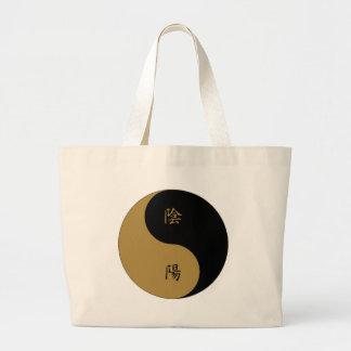 Kanji Yin Yang brown n black Large Tote Bag