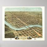 Kankakee Illinois 1869 Antique Panoramic Map Poster
