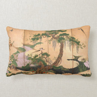 Kano Eino Birds and Flowers of Spring and Summer Lumbar Pillow