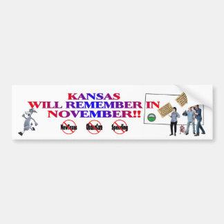 Kansas - Anti ObamaCare, New Taxes & Spending Bumper Sticker
