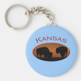 Kansas Basic Round Button Key Ring