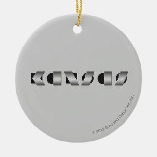 KANSAS Black and White Christmas Ornament