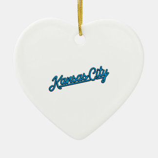 Kansas City in cyan Ceramic Heart Decoration