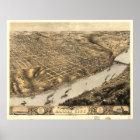 Kansas City Missouri 1869 Antique Panoramic Map Poster