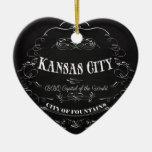 Kansas City Missouri - BBQ Capital of the World Ceramic Heart Decoration