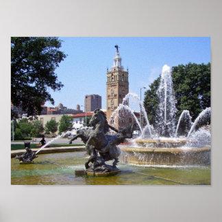 Kansas City, Missouri Plaza Fountain Poster