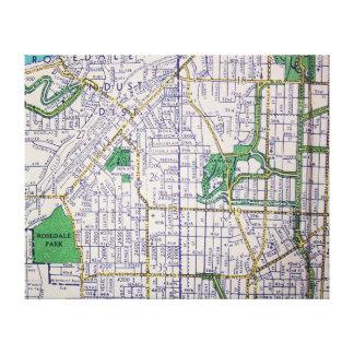 KANSAS CITY, MO Vintage Map Canvas Print