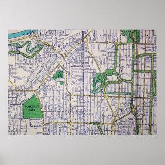 Kansas City, MO Vintage Map Poster