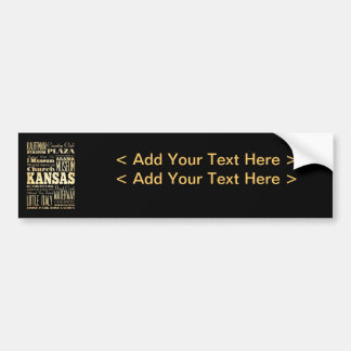 Kansas City of Missouri State Typography Art Car Bumper Sticker