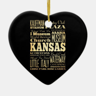 Kansas City of Missouri State Typography Art Christmas Ornament