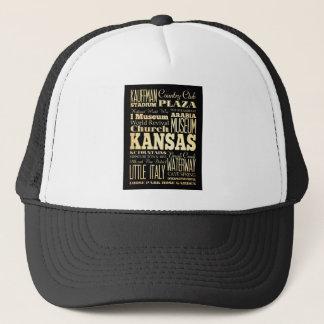 Kansas City of Missouri State Typography Art Trucker Hat