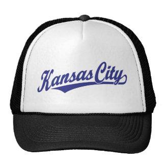 Kansas City script logo in blue Cap