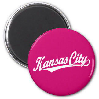 Kansas City script logo in white 6 Cm Round Magnet