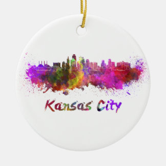 Kansas City skyline in watercolor Christmas Ornament