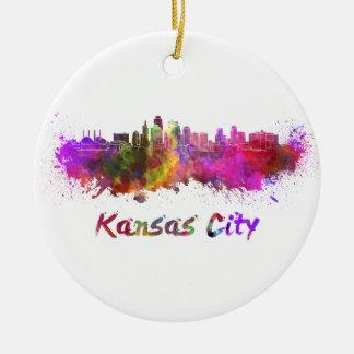 Kansas City skyline in watercolor Round Ceramic Decoration