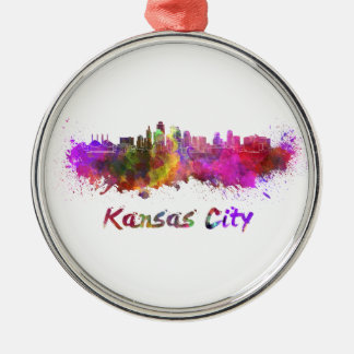 Kansas City skyline in watercolor Silver-Colored Round Decoration
