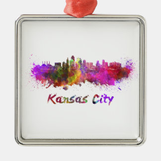Kansas City skyline in watercolor Silver-Colored Square Decoration