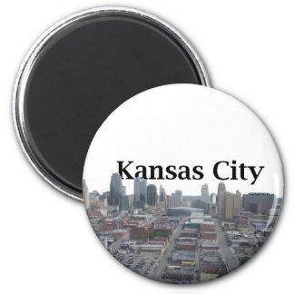 Kansas City Skyline with Kansas City in the Sky 6 Cm Round Magnet