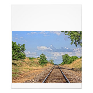 Kansas Country Railroad with blue sky Photo