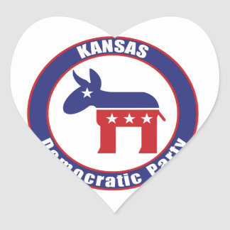 Kansas Democratic Party Heart Sticker