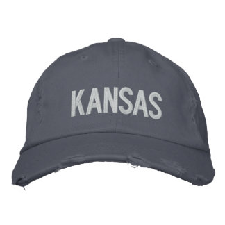 KANSAS Distressed Chino Twill Cap Embroidered Baseball Cap
