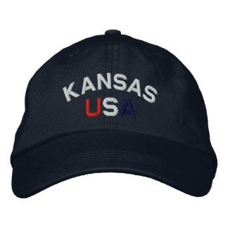 Kansas Embroidered Navy Blue Hat Embroidered Hats