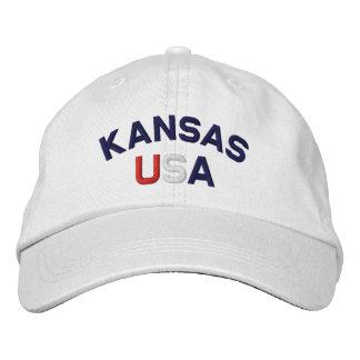 Kansas Embroidered White Hat Baseball Cap