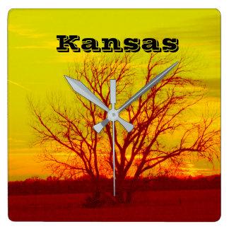 KANSAS EXTREME SUNSET COLORS!! Clock. Square Wall Clock