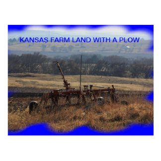 Kansas Farm Land with a plow POST CARD