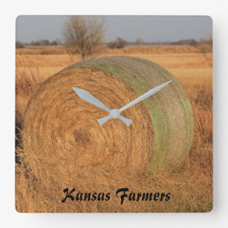 Kansas Farmers Wall Clock with Hay Bale