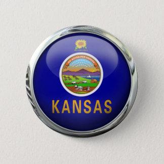 Kansas Flag Glass Ball 6 Cm Round Badge
