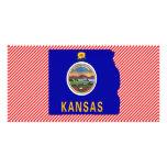 Kansas Flag Map Personalised Photo Card