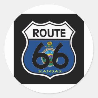 Kansas Flag Route 66 Shield Classic Round Sticker